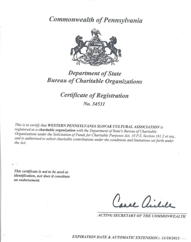 Commonwealth of Pennsylvania Charitable Organization Certificate